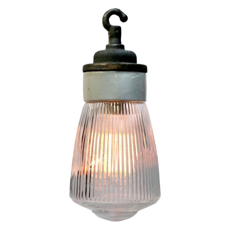 Porcelain Cast Iron Holophane Glass Industrial Hanging Lights (14x)