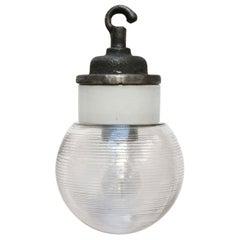 Porcelain Cast Iron Holophane Glass Industrial Hanging Lights
