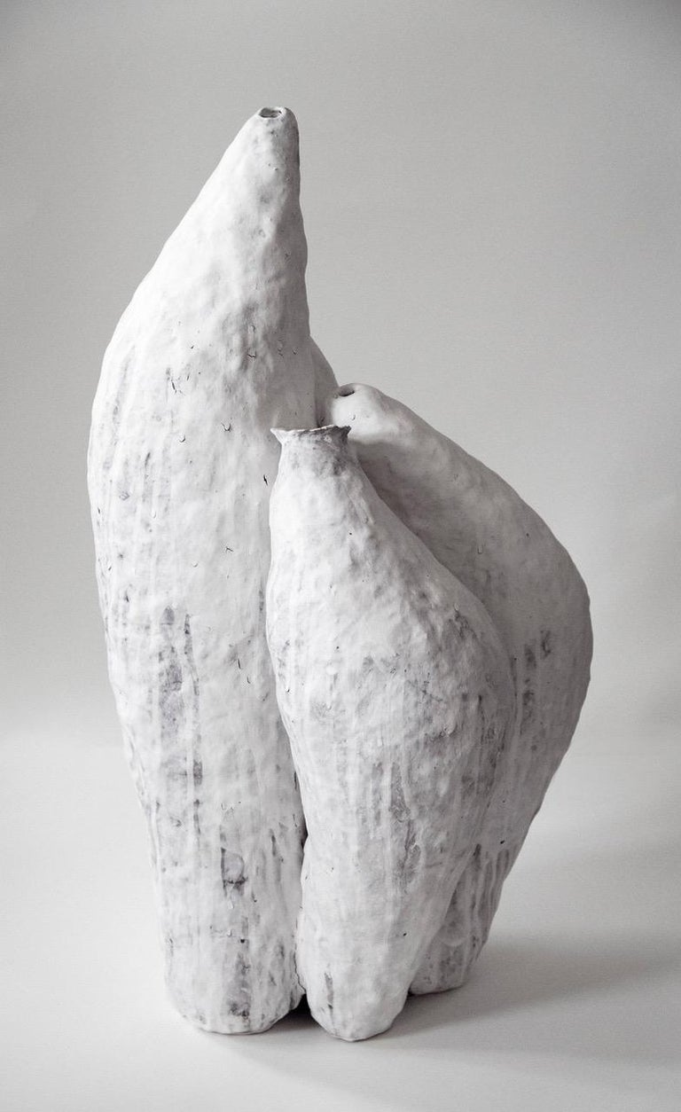 Porcelain Ceramic Artwork signed by Jojo Corväiá, White In New Condition For Sale In Geneve, CH
