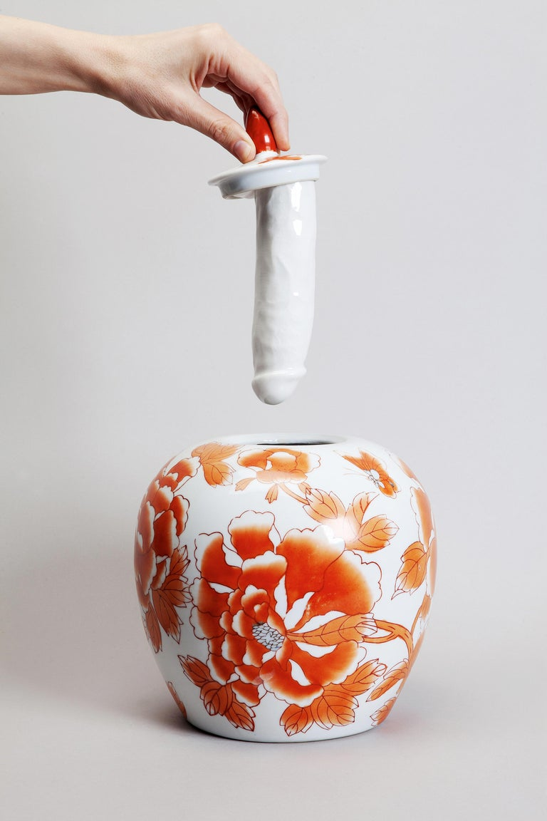 Italian Porcelain Ceramic Sculptural Vase Italy Contemporary, 21st Century For Sale