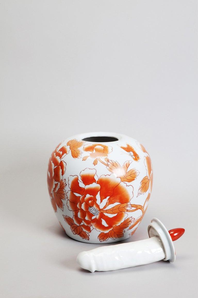Glazed Porcelain Ceramic Sculptural Vase Italy Contemporary, 21st Century For Sale