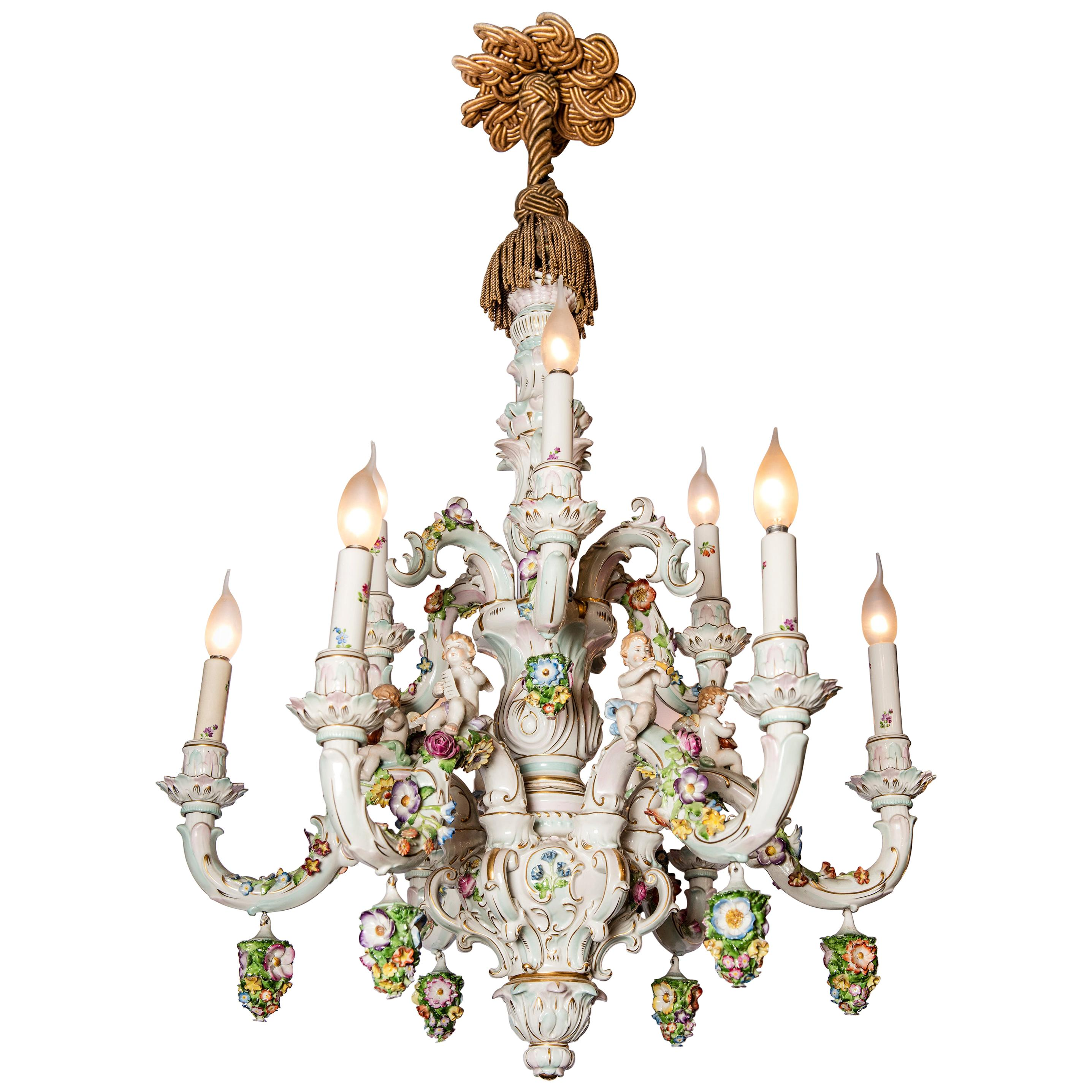 Porcelain Chandelier with Flowers and Angels, Germany, circa 1900