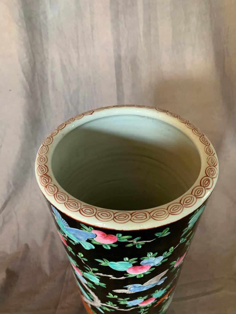 Hand-Painted Porcelain Chinese Umbrella Stand Vase For Sale