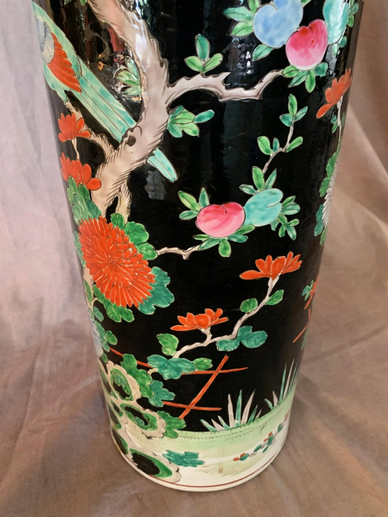20th Century Porcelain Chinese Umbrella Stand Vase For Sale