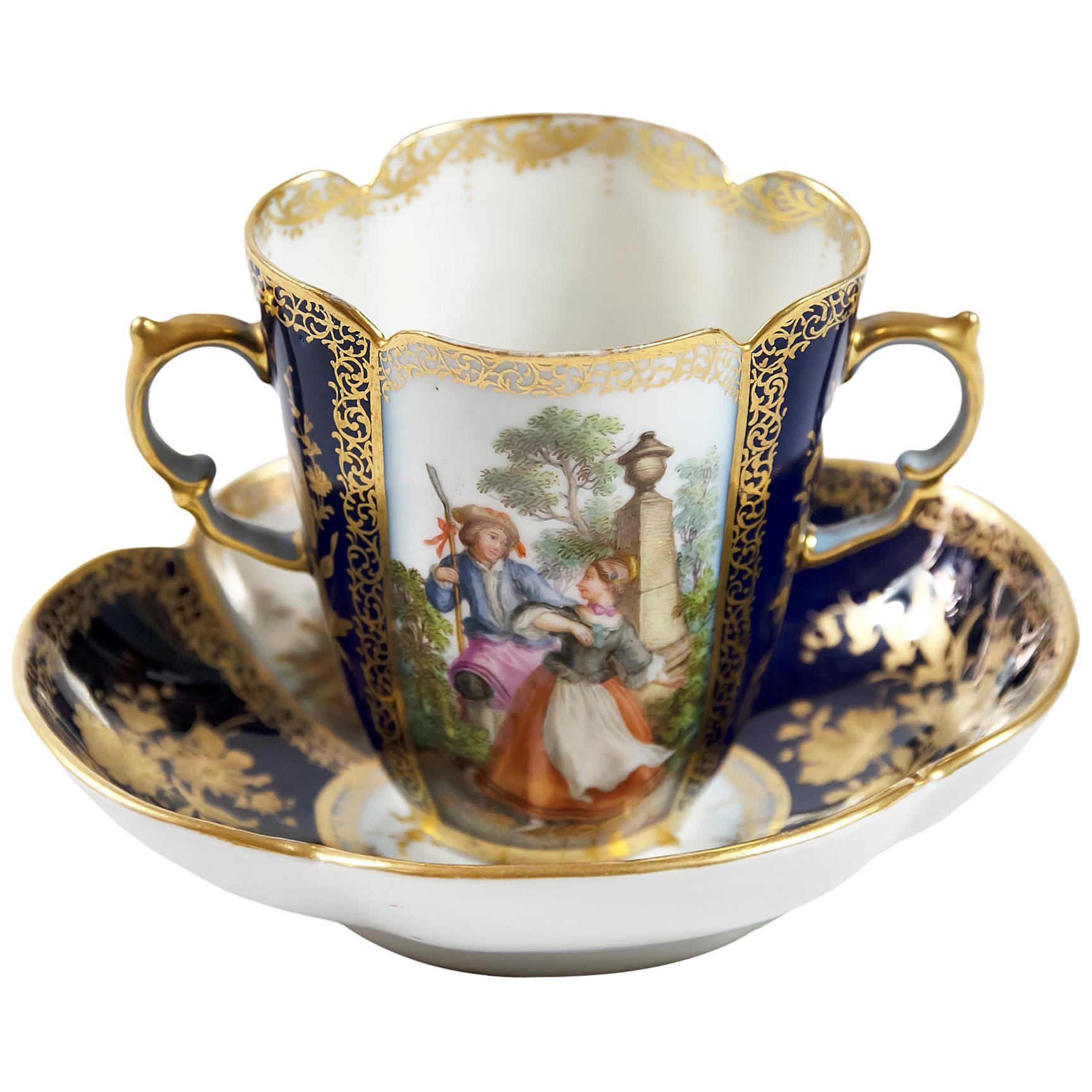 Porcelain Chocolate Cup with Saucer by Augustus Rex Helena Wolfsohn