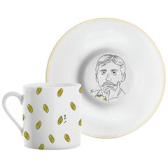 """Porcelain Coffee Cup and Gold, Parisian Style """"Marcel Proust"""""""