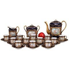 Porcelain Coffee Service with Mythological Scenes in Sevres Taste