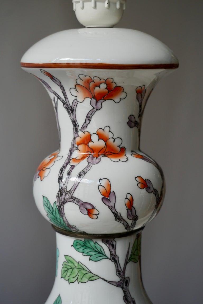 Porcelain de Paris Hand Painted Flower Bird Lamp For Sale 2