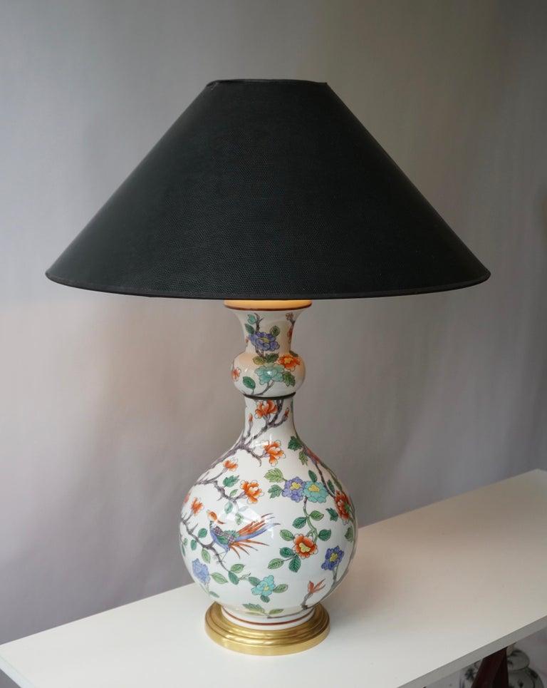 Porcelain de Paris Hand Painted Flower Bird Lamp For Sale 4