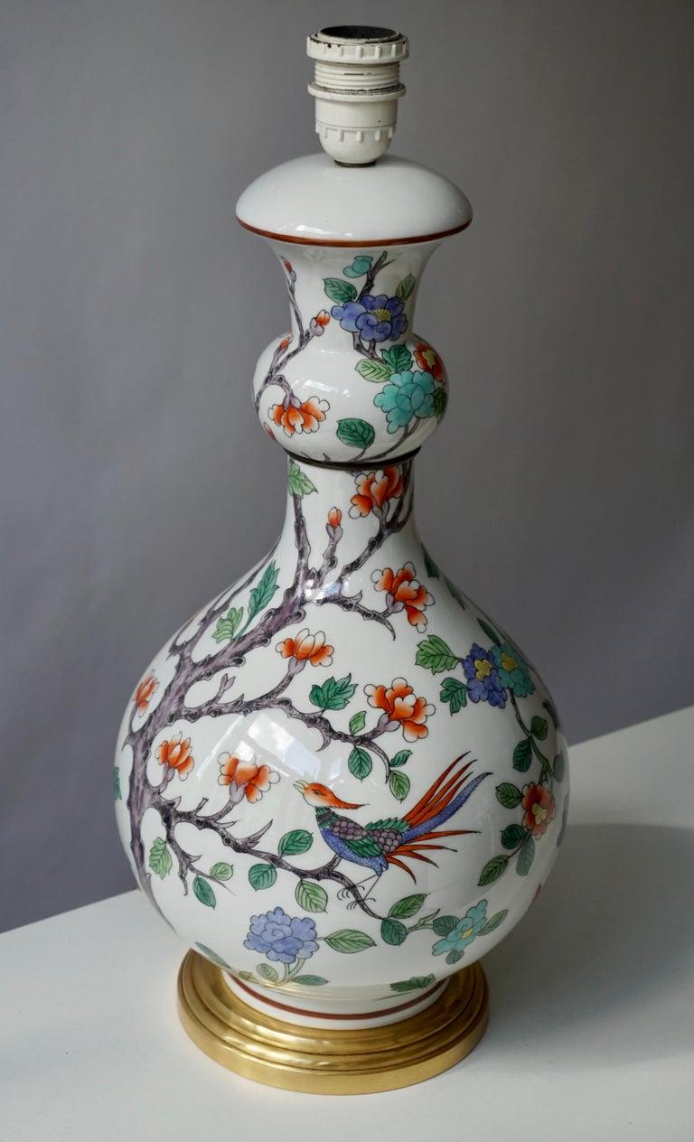 French Porcelain de Paris Hand Painted Flower Bird Lamp For Sale