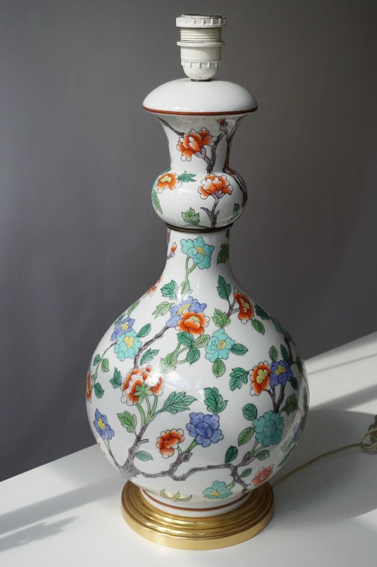 Gilt Porcelain de Paris Hand Painted Flower Bird Lamp For Sale