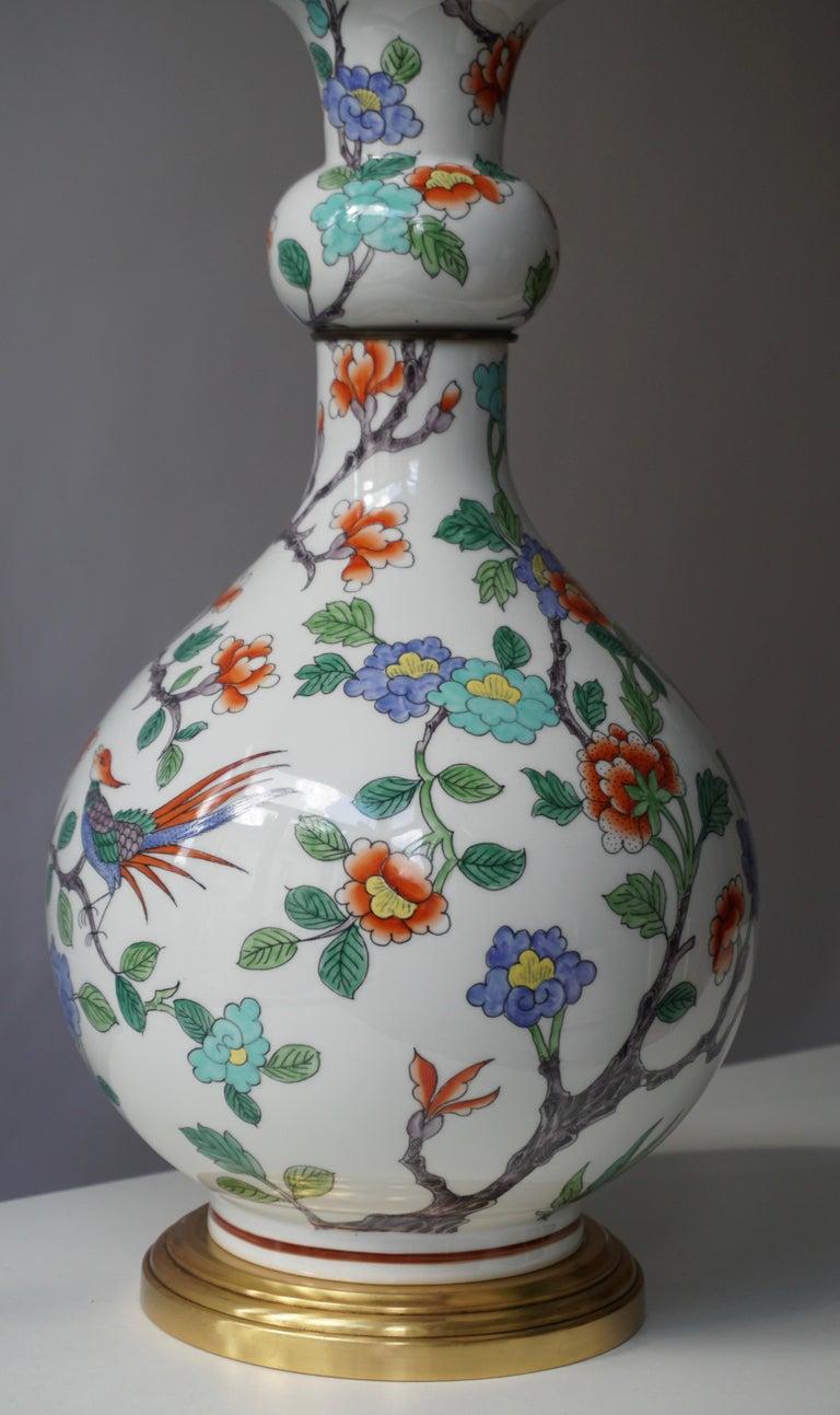 20th Century Porcelain de Paris Hand Painted Flower Bird Lamp For Sale