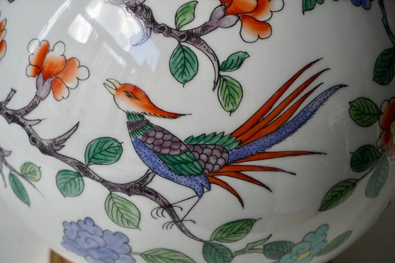 Brass Porcelain de Paris Hand Painted Flower Bird Lamp For Sale