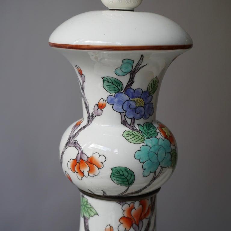 Porcelain de Paris Hand Painted Flower Bird Lamp For Sale 1