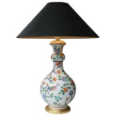 Porcelain de Paris Hand Painted Flower Bird Lamp