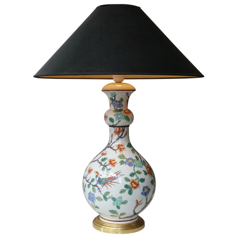 Porcelain de Paris Hand Painted Flower Bird Lamp For Sale