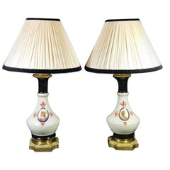 Porcelain de Paris Napoleon III French Pair of Oil Lamps 'Without Lampshade'