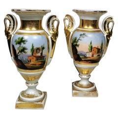 Porcelain de Paris Pair of Hand Painted Vases Napoleon III, France