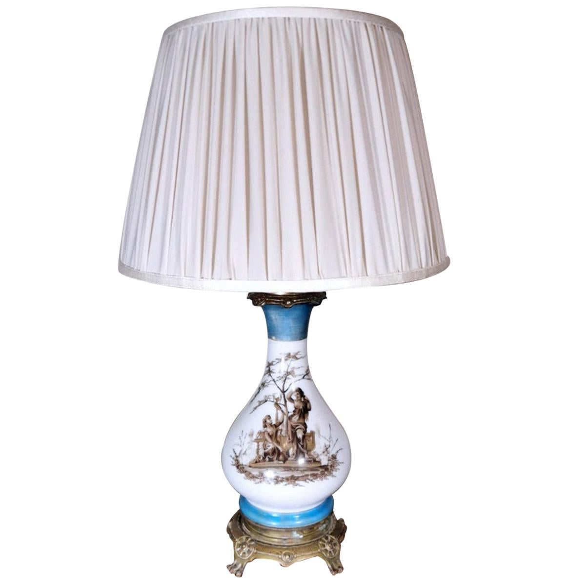 Porcelain De Paris Table Lamp Napoleon III France 'Without Lampshade'
