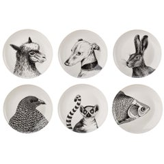 Porcelain Dinner Plates with Animal Portrait Decals