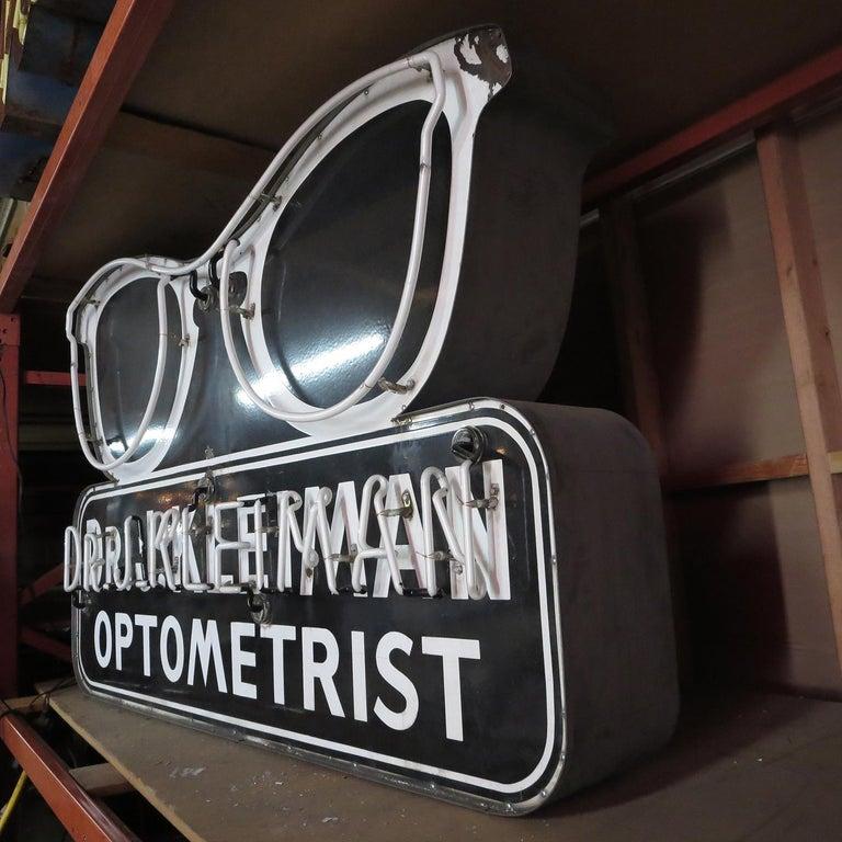 Mid-20th Century Porcelain Enamel Neon Eyeglass Optometrist Sign For Sale