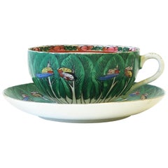 Porcelain Famille Verte Cabbage Leaf and Butterfly Coffee or Tea Cup and Saucer