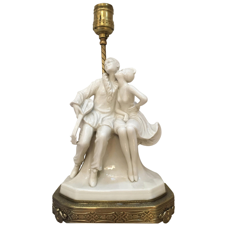 Porcelain Figural Harlequin Lamp with Brass Base, circa 1920