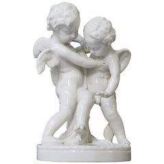 Porcelain Figurative Sculpture Representing Two Little Angels, Putti