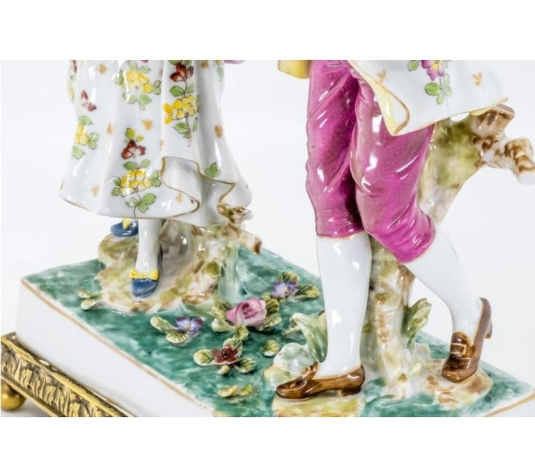 Hand-Painted Porcelain Figure of a Couple, Hand Painted, Hochst, German, 19th Century For Sale
