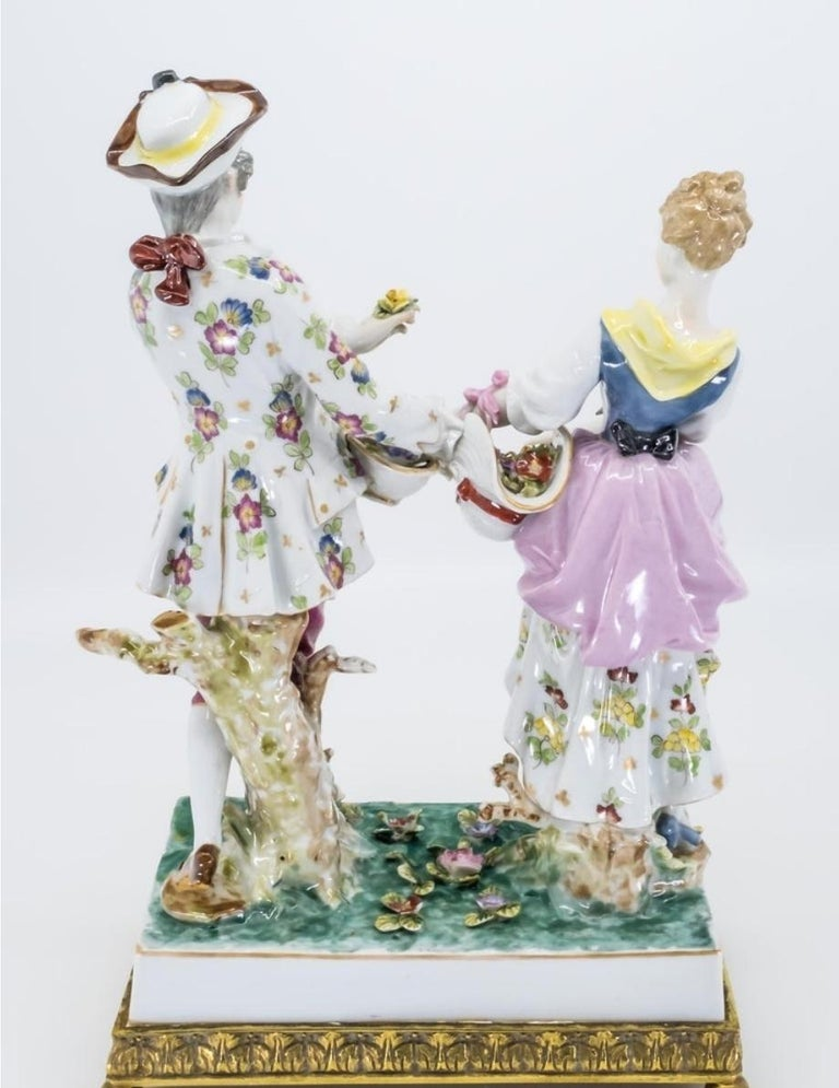 Porcelain Figure of a Couple, Hand Painted, Hochst, German, 19th Century For Sale 2