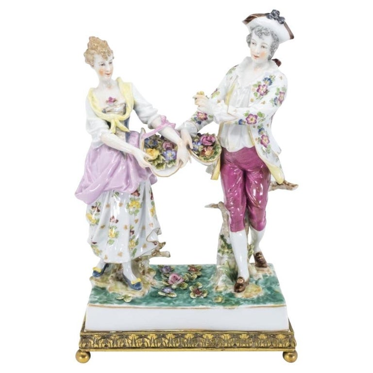 Porcelain Figure of a Couple, Hand Painted, Hochst, German, 19th Century For Sale