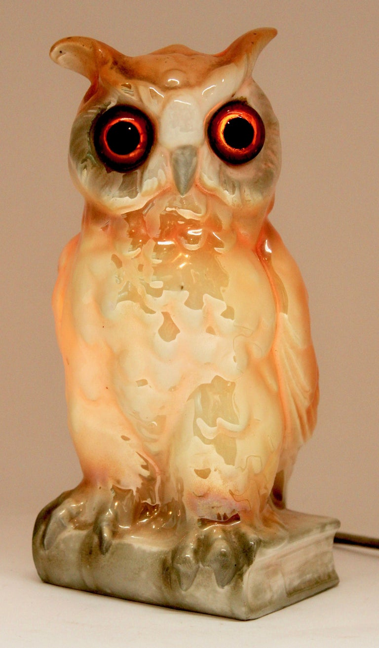 Porcelain Figurine, Air Purifier or Table Lamp, Owl from Germany, 1930s For Sale 5