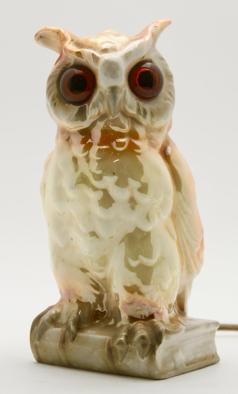 Germany, 1930s, excellent condition Porcelain figurine / air purifier / table lamp. Owl. Undamaged original condition. The lighting works. A small container on the back can be filled with fragrance oil. The oil evaporates due to the heat of the