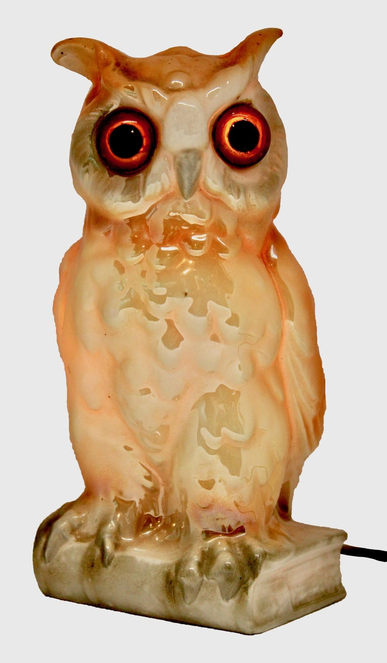 Porcelain Figurine, Air Purifier or Table Lamp, Owl from Germany, 1930s In Good Condition For Sale In Verviers, BE
