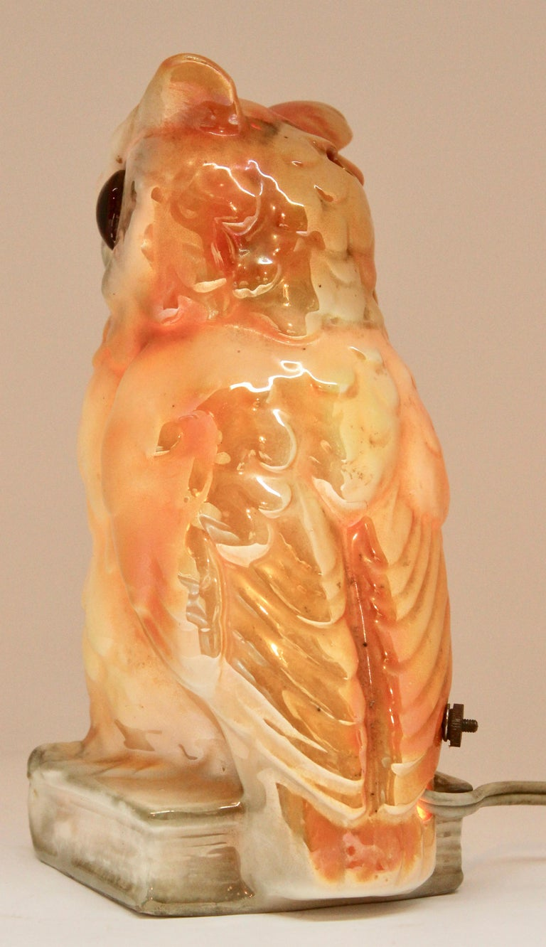 Porcelain Figurine, Air Purifier or Table Lamp, Owl from Germany, 1930s For Sale 1