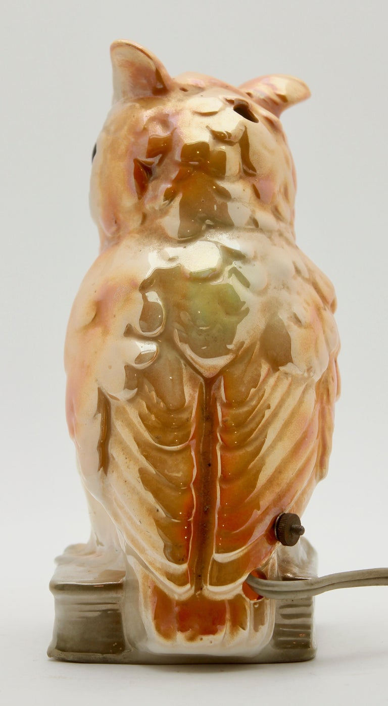 Porcelain Figurine, Air Purifier or Table Lamp, Owl from Germany, 1930s For Sale 2
