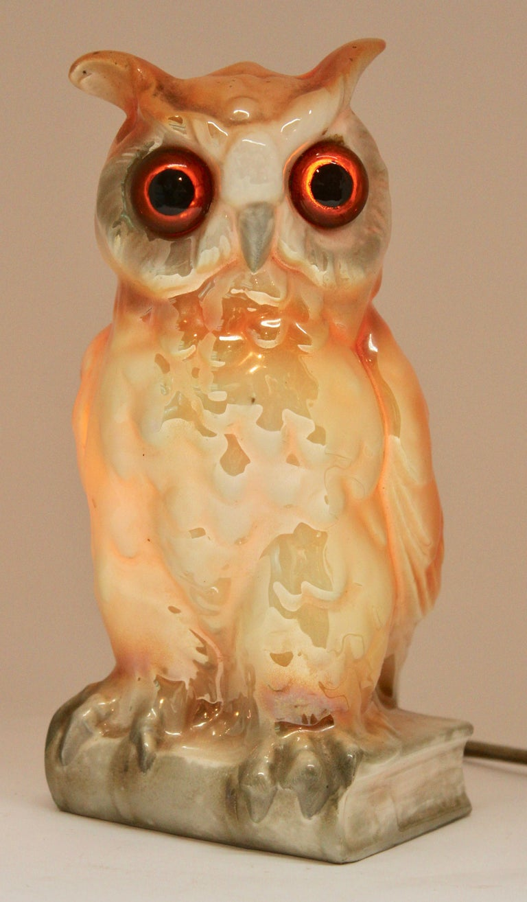 Porcelain Figurine, Air Purifier or Table Lamp, Owl from Germany, 1930s For Sale 3