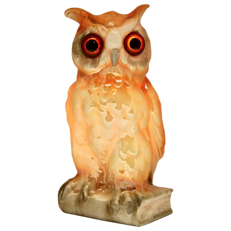 Porcelain Figurine, Air Purifier or Table Lamp, Owl from Germany, 1930s For Sale