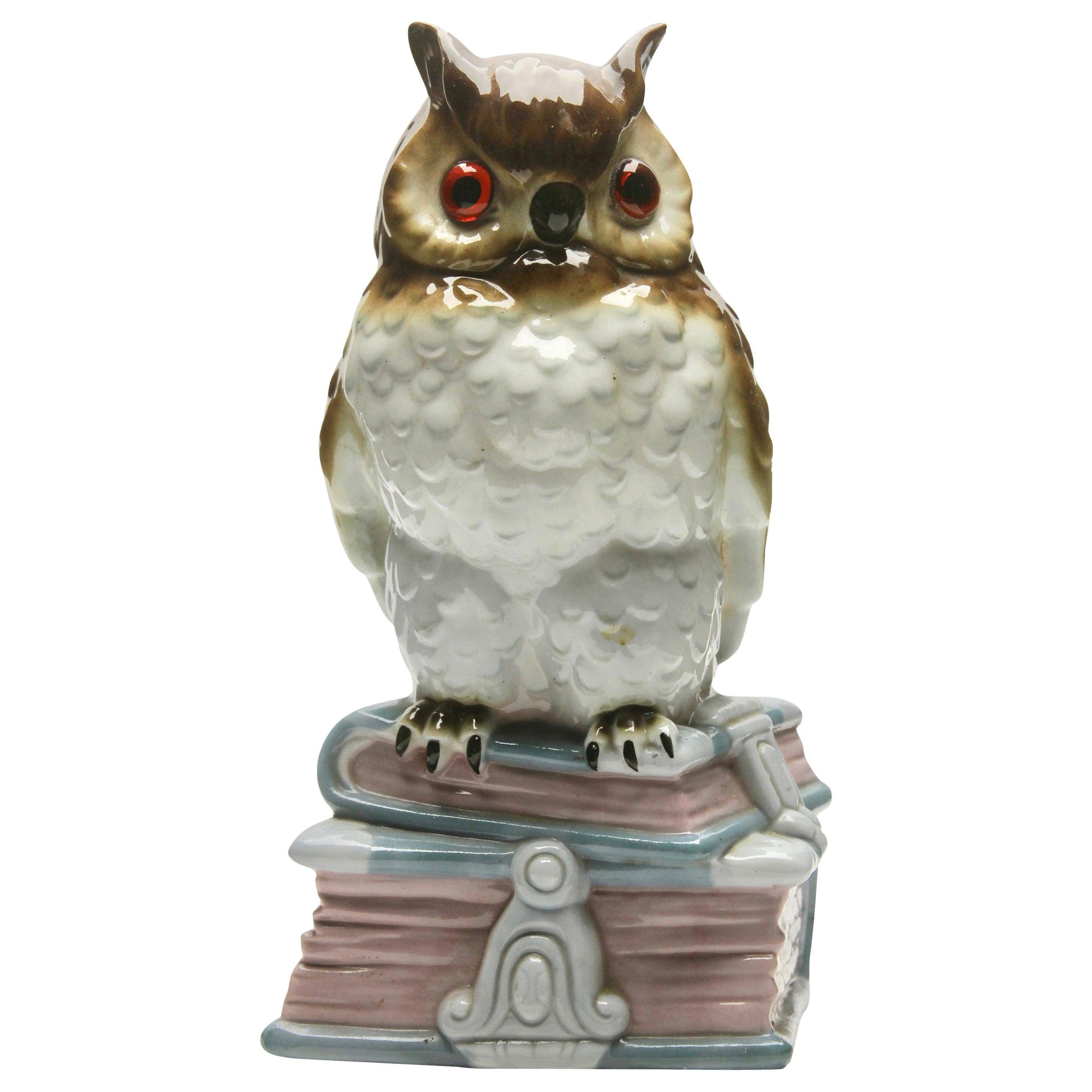 Porcelain Figurine, Air Purifier or Table Lamp, Owl or Eagle Owl from the 1930