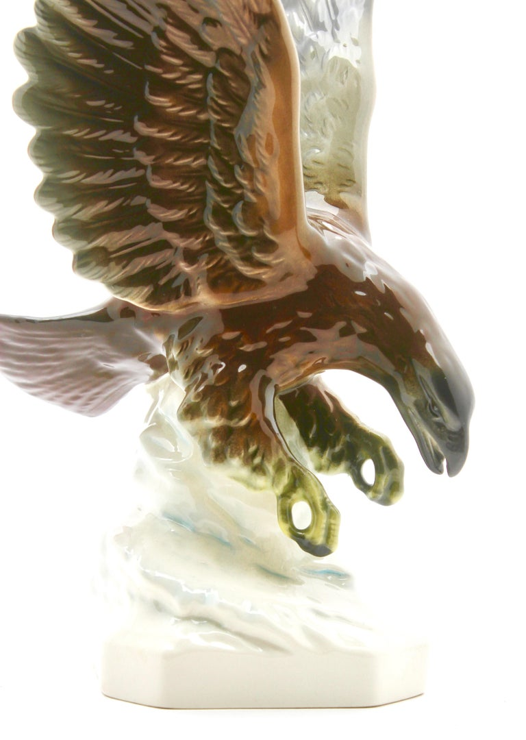Goebel produced this dramatic porcelain figurine depicting a bird of prey (eagle), circa 1960.