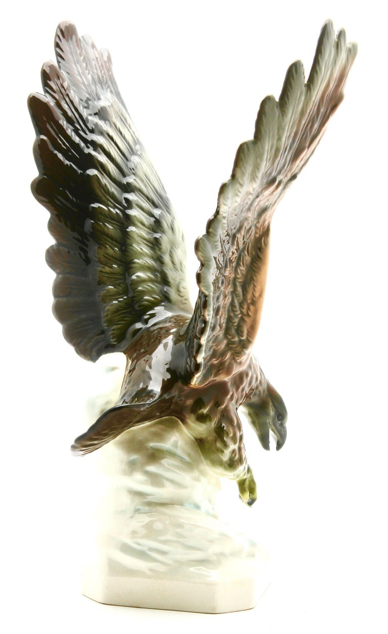 Glazed Porcelain Figurine of a Bird of Prey by Goebel Germany, Signed 'Goebel' For Sale