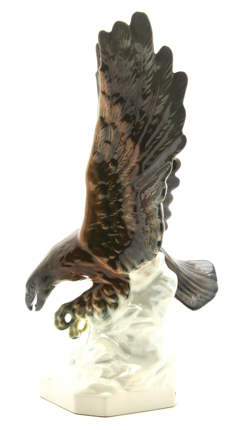 Porcelain Figurine of a Bird of Prey by Goebel Germany, Signed 'Goebel' For Sale 2
