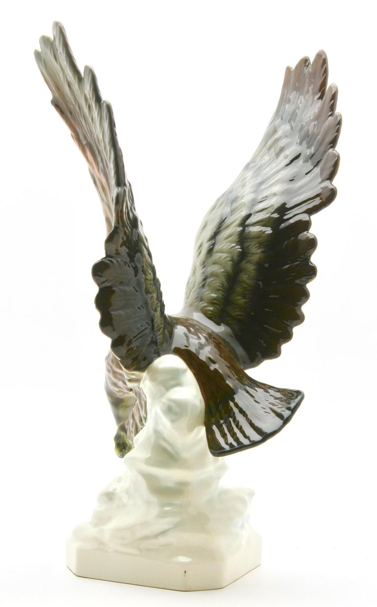Porcelain Figurine of a Bird of Prey by Goebel Germany, Signed 'Goebel' For Sale 3