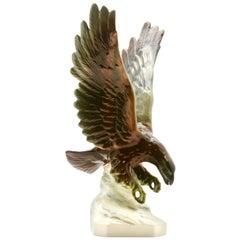 Porcelain Figurine of a Bird of Prey by Goebel-Germany, Signed 'Goebel'