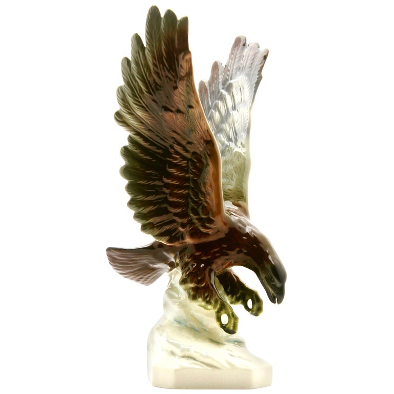 Porcelain Figurine of a Bird of Prey by Goebel Germany, Signed 'Goebel' For Sale