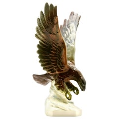 Porcelain Figurine of a Bird of Prey by Goebel Germany, Signed 'Goebel'