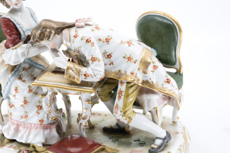Classical Roman Porcelain Figurine of a Couple Playing Chess, Germany, Hand Painted For Sale
