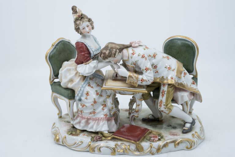 Porcelain Figurine of a Couple Playing Chess, Germany, Hand Painted In Good Condition For Sale In Lantau, HK