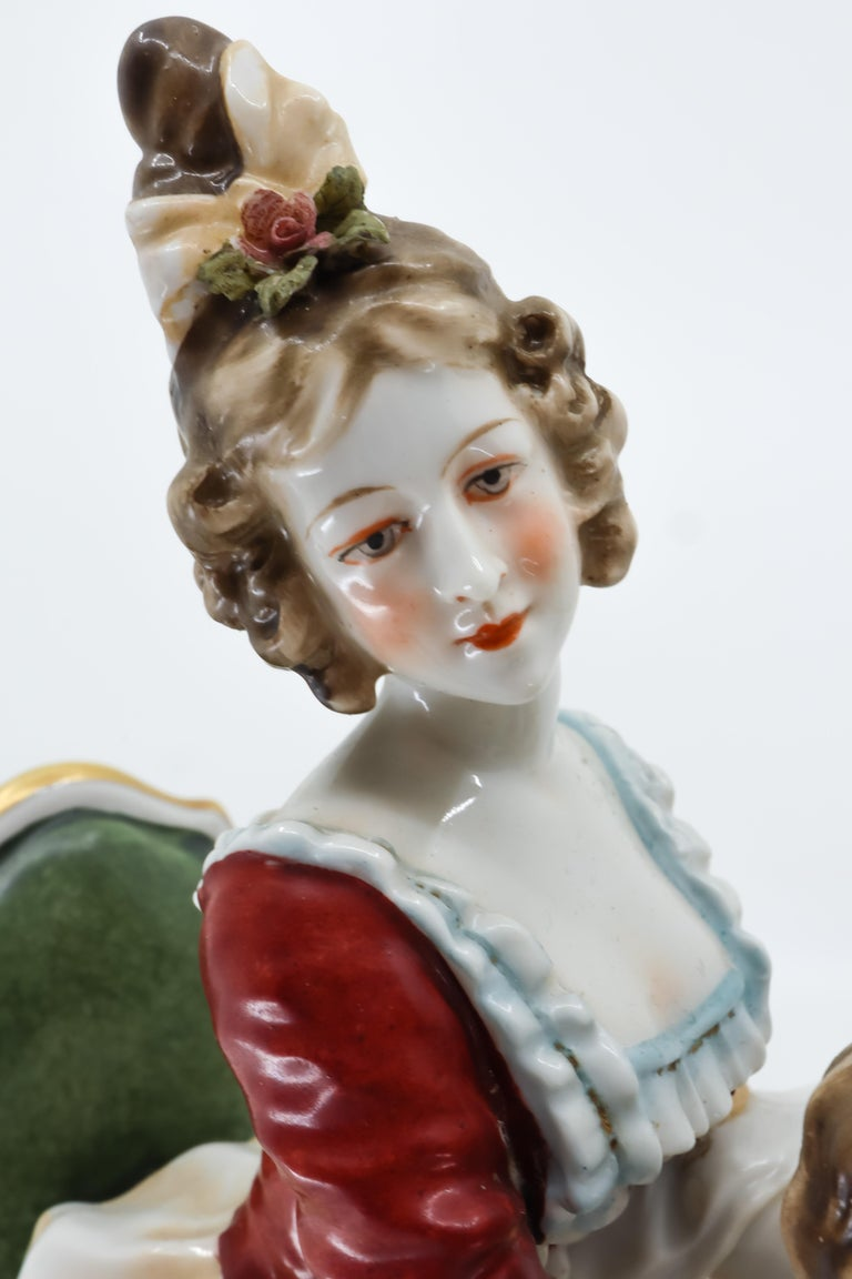 Porcelain Figurine of a Couple Playing Chess, Germany, Hand Painted For Sale 1