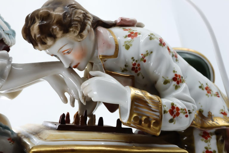 Porcelain Figurine of a Couple Playing Chess, Germany, Hand Painted For Sale 2